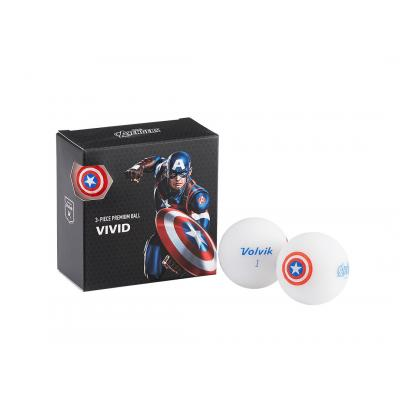 Volvik Vivid Marvel 'Captain America' 4 Ball Pack - White